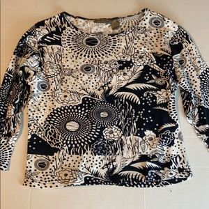 Jane Ashley black and white top with bling.